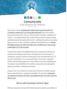 Comunicado de Series.ly anunciando la eliminación de enlaces ilegales
