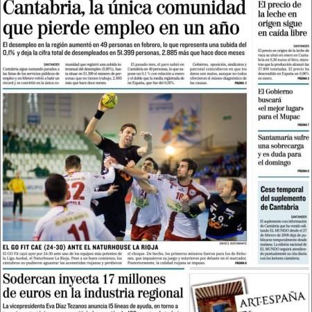 Última portada de EL MUNDO CANTABRIA / 3 de marzo de 2016