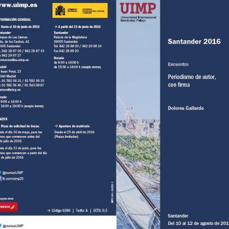Abierta la matrícula para el curso «Periodismo de autor, con firma», que tendrá lugar en la UIMP