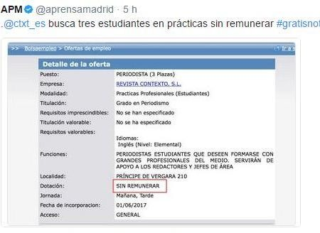La Asociación de la Prensa de Madrid (APM) denunció que la revista CTXT buscaba becarios gratis