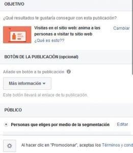 ¿Publicidad en Facebook o contenido patrocinado en medios de comunicación? - Captura de pantalla de la aplicación para crear anuncios en Facebook